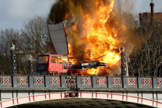 Bus explodes | Pic: AP