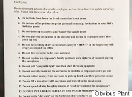 Someone Has Been Leaving Fake 'Office Rules' Lying Around The Workplace
