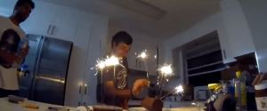 SPARKLERS AS BIRTHDAY CAKE CANDLES