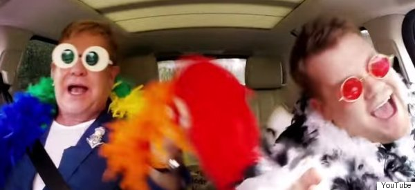 Elton And James Raid The Fancy Dress Box For Carpool Karaoke