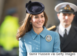 Kate Middleton Sports Head-To-Toe Blue For RAF 75th Anniversary