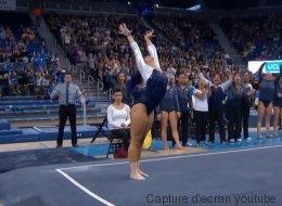 Cette gymnaste place les pas de danse du moment dans sa performance et c'est génial