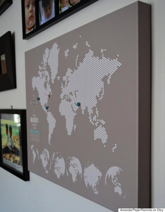 12 brilliant ways to make your family vacations last forever huffpost world map pins gumiabroncs Images