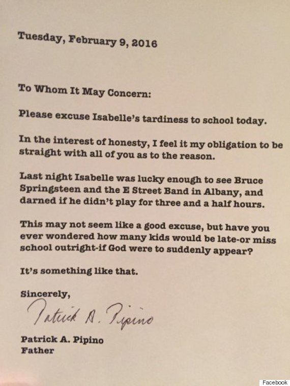 excuse letter for being late blames late bruce springsteen concert for 22362