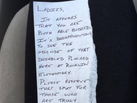 Woman With Joint Condition Issues Response To Snarky Note Left On Car Parked In Disabled Bay