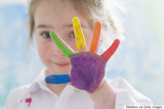 children hands paint