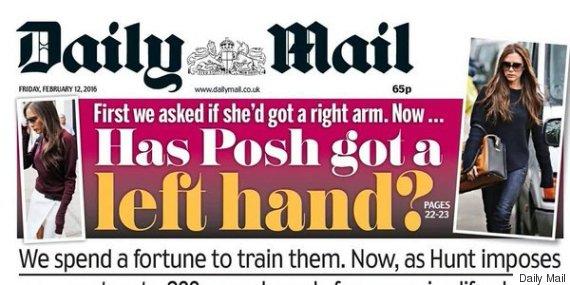 daily mail posh left hand