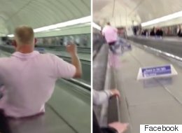 Prankster Faceplants After Attempting To Slide Down Tube Escalator