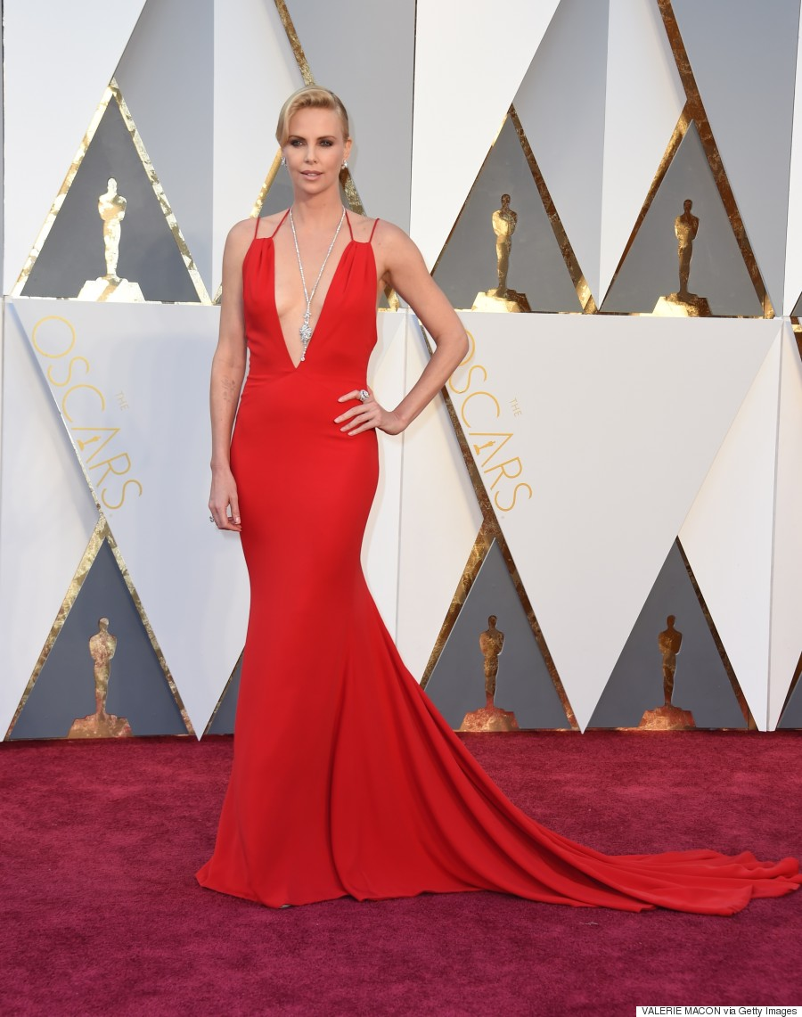 Charlize Theron S Oscars 2016 Gown Is Red Hot
