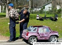 Texas Man Arrested While Driving Pink Electric Toy Car Intended For Children