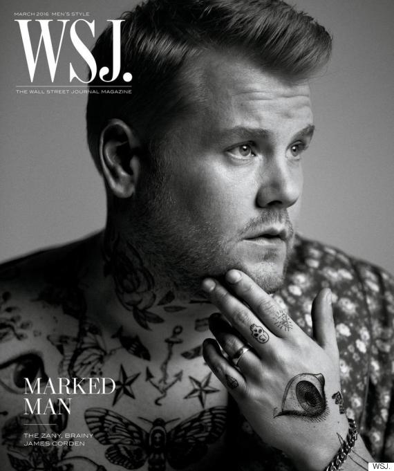 James corden poses for harry styles inspired tattooed for Tattoos near me open late