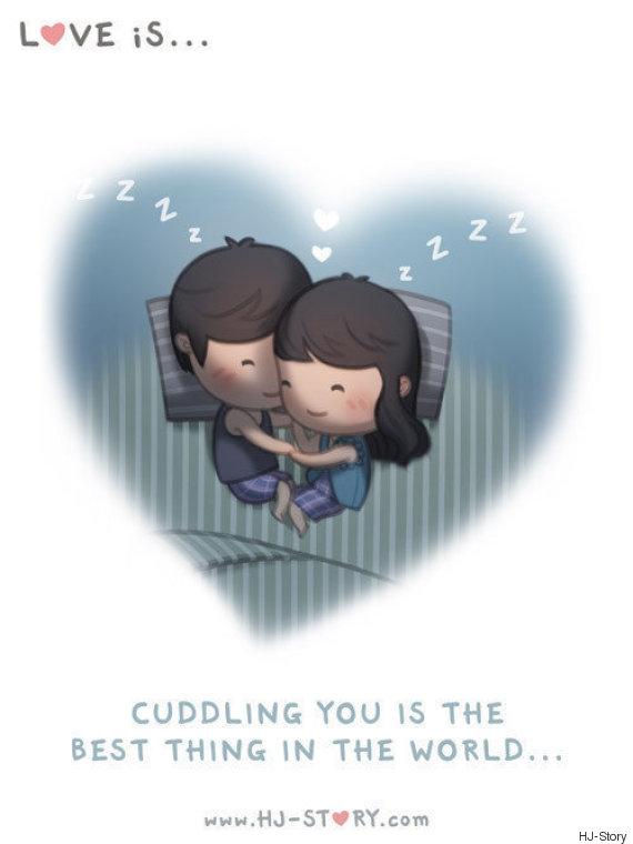 cuddling love illustration