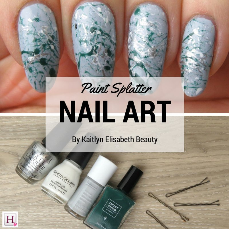 Spring nail art create a paint splatter design using a bobby pin prinsesfo Images