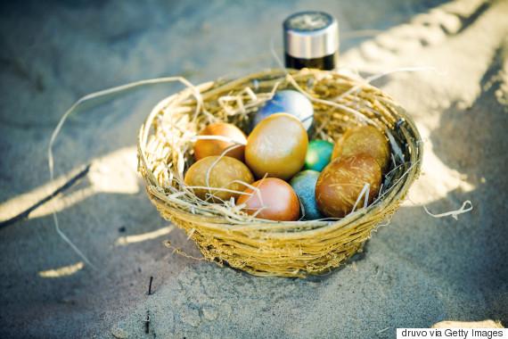easter eggs sand