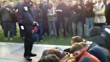 UC Davis Police Threatens Crowd