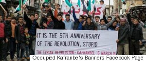 OCCUPIED KAFRANBEL BANNERS FACEBOOK PAGE
