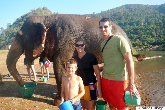 suzanne and family and elephant
