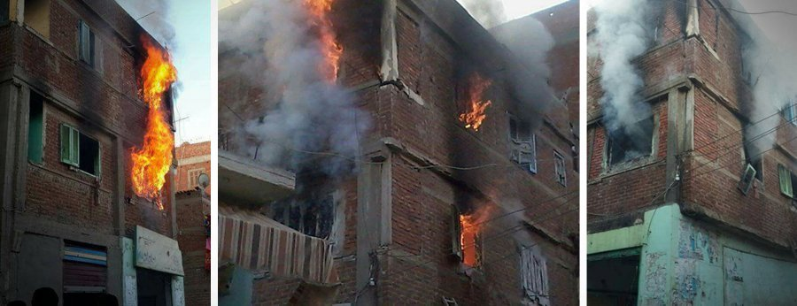 """الشرطة المصرية تشعل النيران منازل لمعتقلين سياسيين مؤيدين لـ""""مرسي"""""""