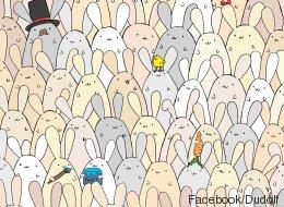 Pouvez-vous trouver l'oeuf de Pâques parmi les lapins?