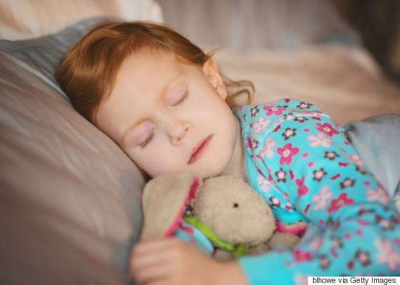 kids sleeping with bunny