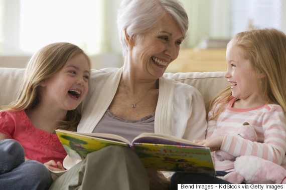 grandparents reading to grandchildren