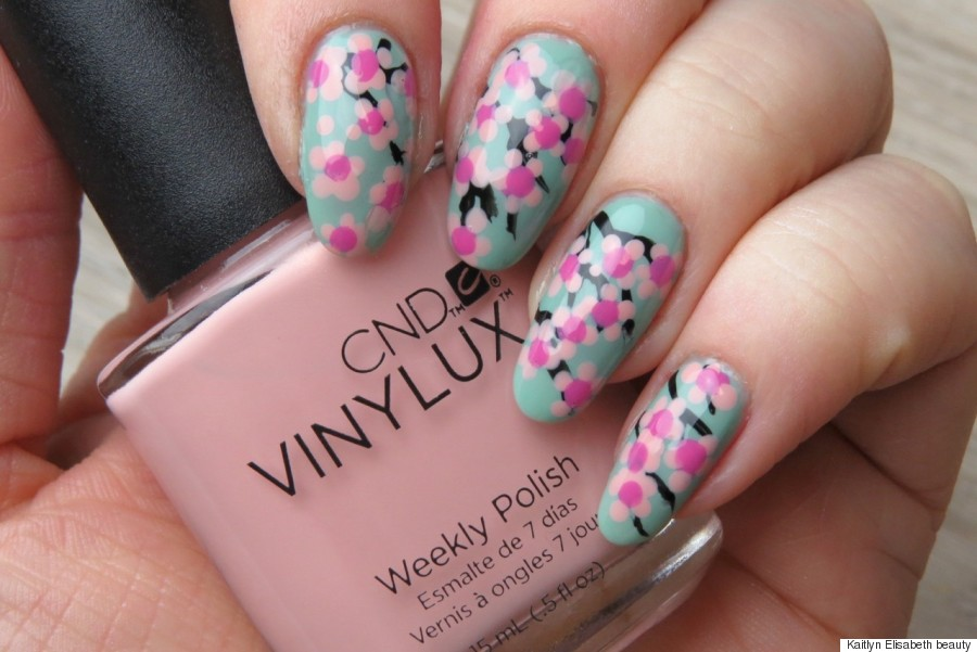 Spring nail art try this easy cherry blossom design cherry blossoms taking your nail art prinsesfo Gallery