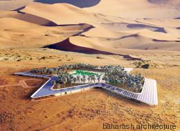 Un hôtel vert autour d'une oasis dans le désert (PHOTOS)