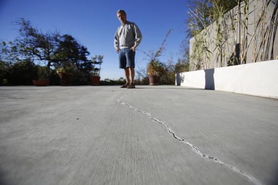 cracked cement concrete