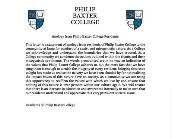baxter college apology