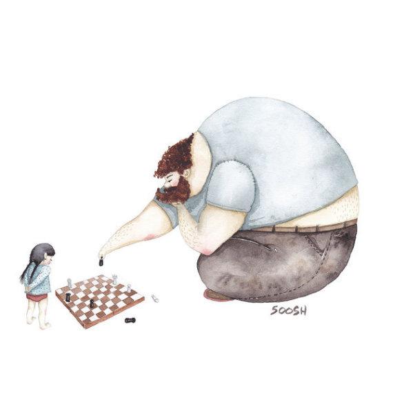 padre hija ajedrez