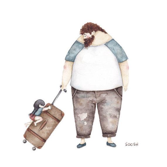 padre hija maleta
