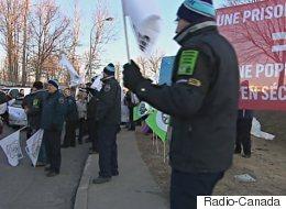 Manifestation des agents en services correctionnels à Québec
