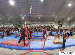 Ce coach de gymnastique a des réflexes incroyables (VIDÉO)
