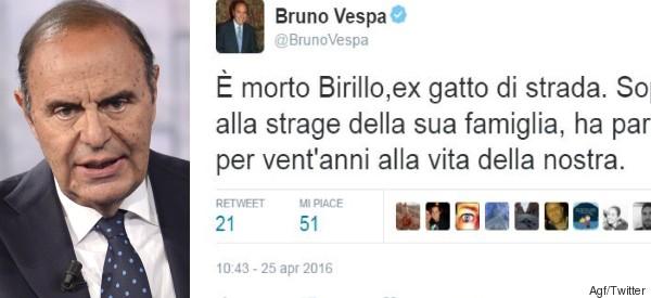 Bruno Vespa piange il suo gatto su twitter: