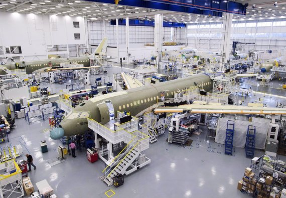 bombardier cs100 assembly line
