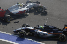 Two cars crash at the Russia Grand Prix | Pic: AP