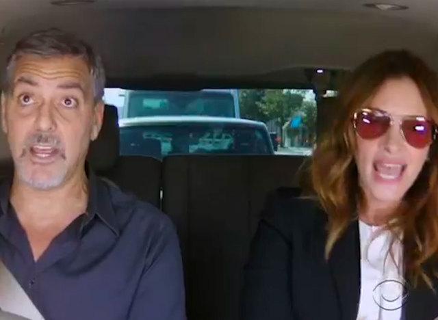 vid u00c9o  james corden appelle george clooney et julia roberts pour  u00e9viter une amende en voiture