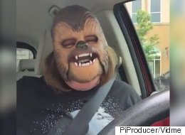 Try Not To Smile As This Woman Loses It Over A Chewbacca Mask