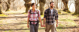 Couple Walking Wood Summer
