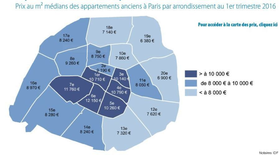 Cartes prix de l 39 immobilier paris les arrondissements for Location immobilier atypique paris