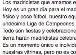 El aplaudido mensaje de un madridista en Facebook tras la final de Champions