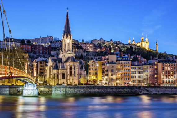 lyon france city night