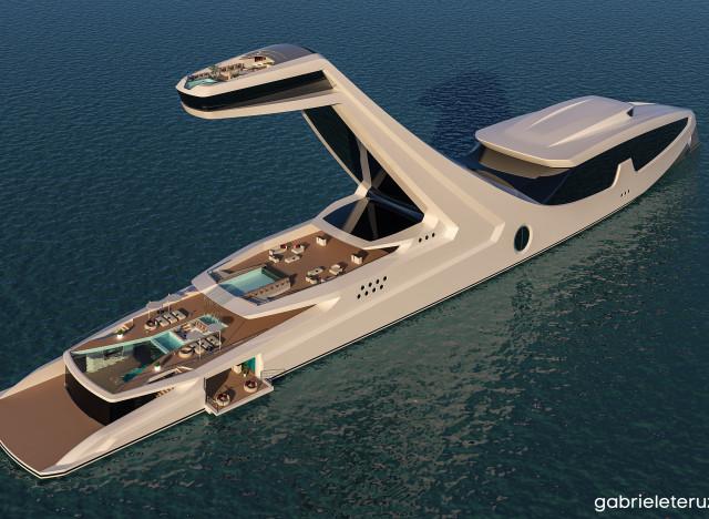 Un yacht futuriste avec une tour pour avoir une belle vue for Avoir une piscine