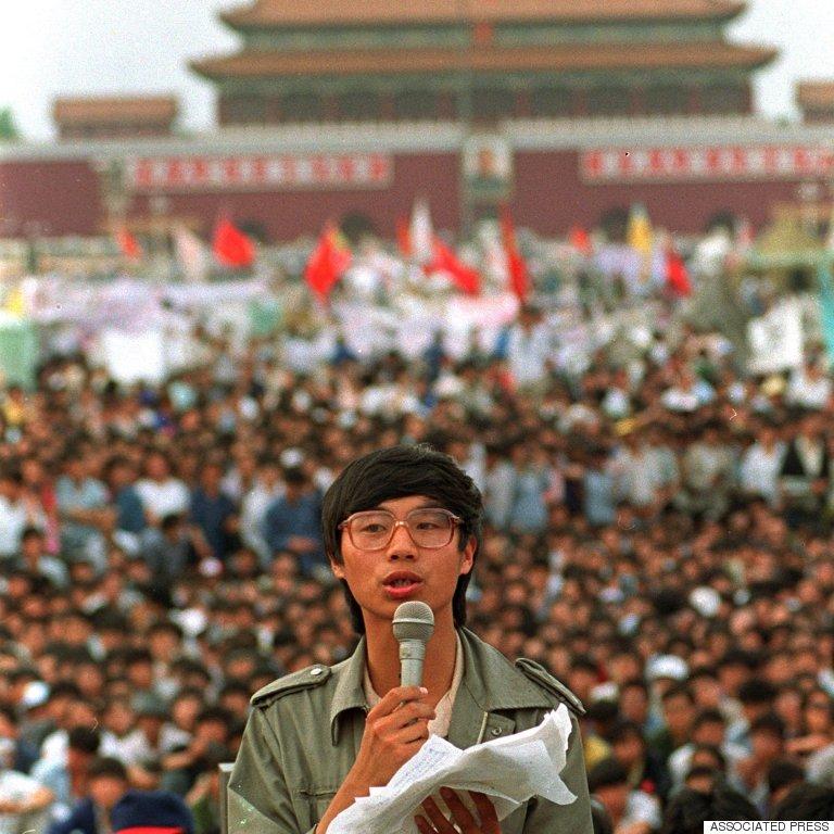 student leader wang dan in tiananmen square beijin