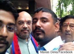 Kanhaiya Kumar's 'Attacker' Hangs Out With BJP Chief Amit Shah,  Posts Selfies