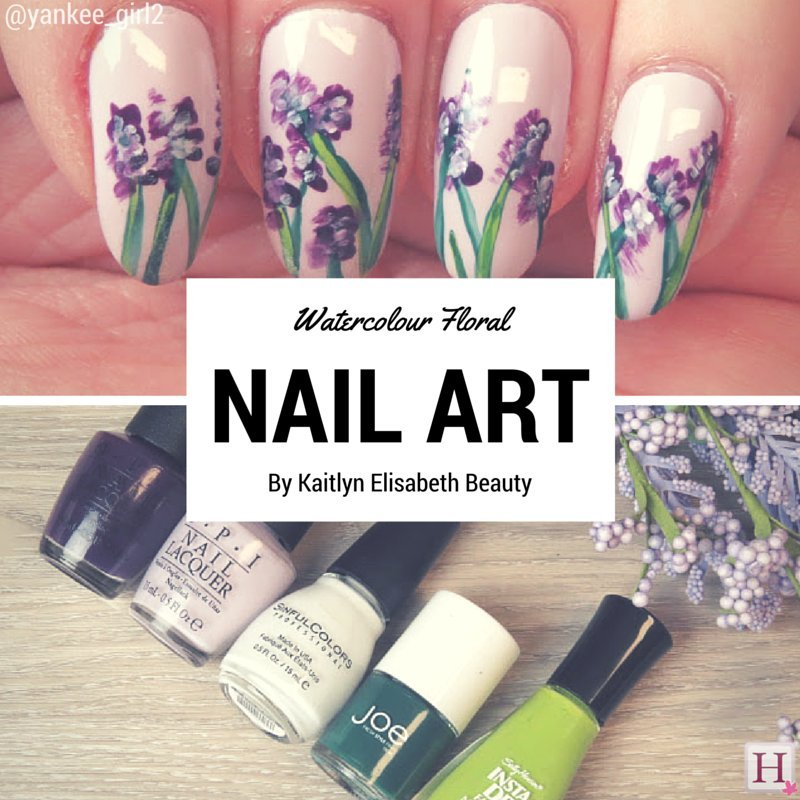 Nail art an easy floral watercolour design floral nail art prinsesfo Images