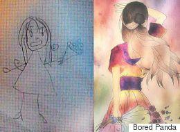 미술을 배우기 전과 후에 그린 그림을 비교하다 (사진)