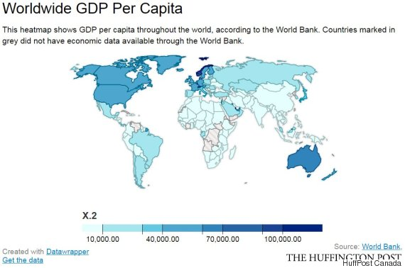 Gdp Per Capita Map 2013 Canada Ranks Am...