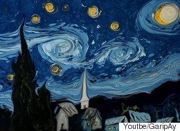 고흐의 '별이 빛나는 밤'을 물 위에 재현했다(영상)