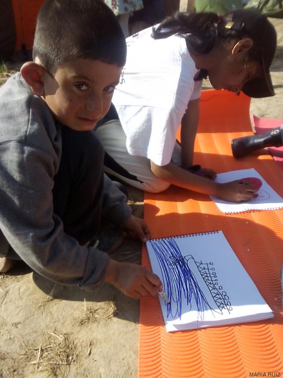 niño refugiado dibujo